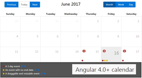 angular-calendar | A flexible calendar component for angular